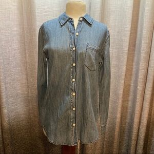 Ladies denim button up top size small
